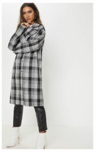 Grey Checked Oversized Coat, Grey