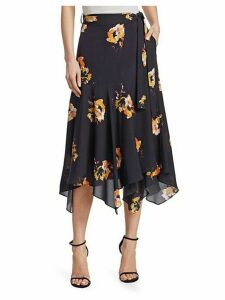 Borden Floral Silk Midi Skirt