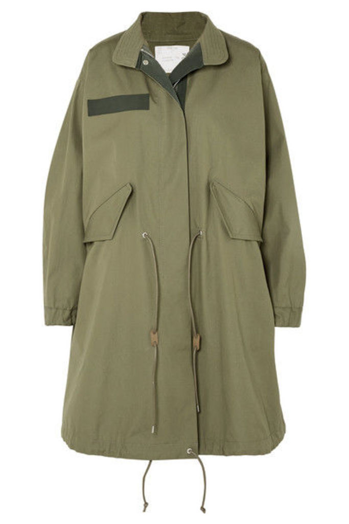 Sacai - Asymmetric Cotton-gabardine Parka - Army green