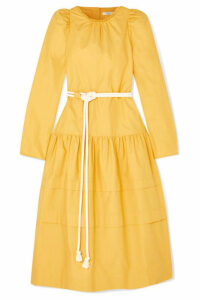 Atlantique Ascoli - Datcha Belted Ruffled Textured Cotton-canvas Midi Dress - Yellow