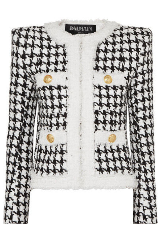 Balmain - Button-embellished Houndstooth Tweed Blazer - Black