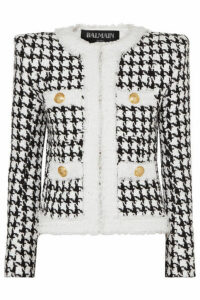 Balmain - Button-embellished Houndstooth Tweed Blazer - Black