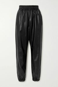 Prada - Feather-trimmed Silk-crepon Wrap Dress - Black