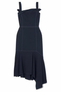 ADEAM - Asymmetric Wool-blend Midi Dress - Navy