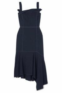 ADEAM - Asymmetric Wool-blend Midi Dress - Navy