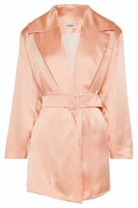 MATÉRIEL - Belted Silk-satin Blazer - Peach