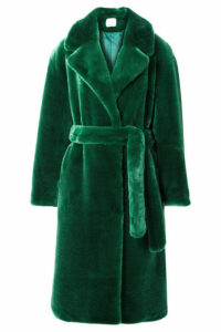 Tibi - Luxe Oversized Faux Fur Coat - Green