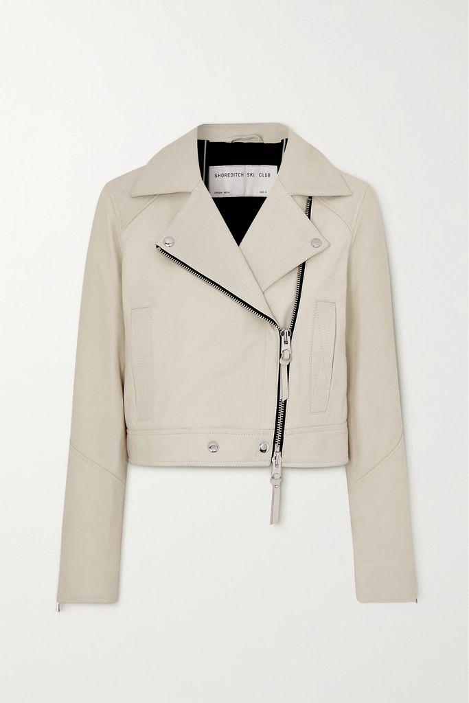 McQ Alexander McQueen - Leopard-print Faux Fur-trimmed Coated-cotton Coat - Burgundy