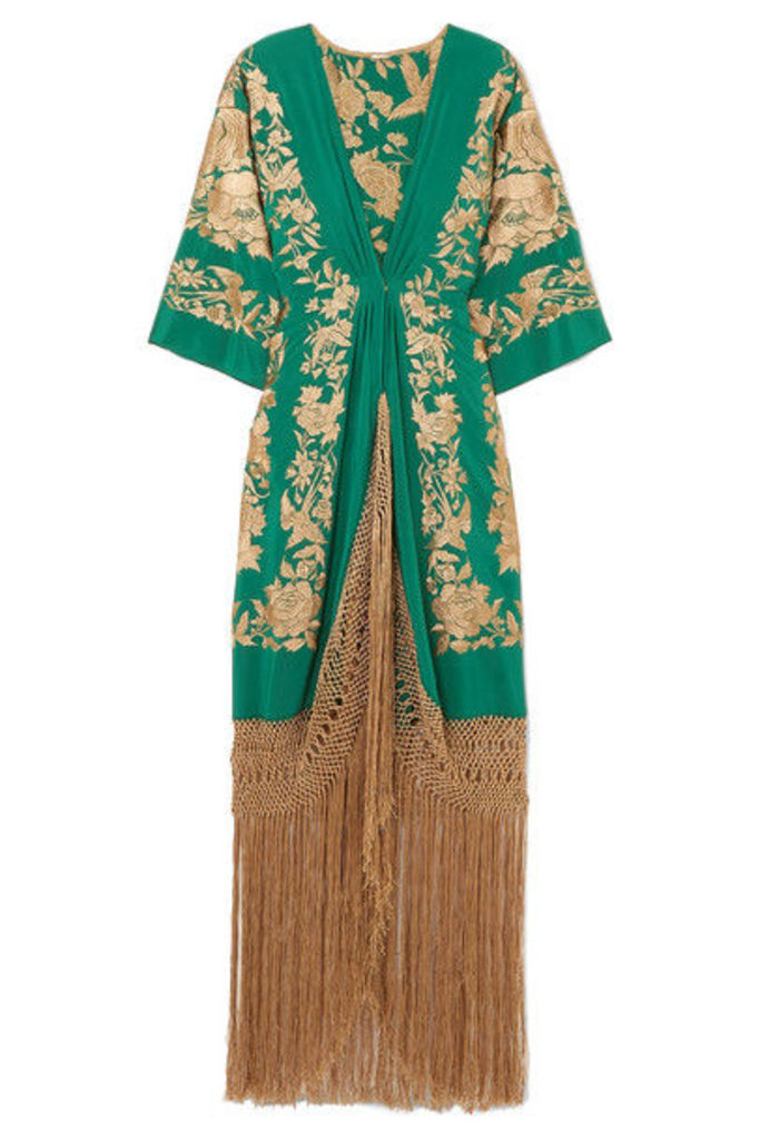 Johanna Ortiz - Contigo En La Distancia Fringed Embroidered Silk Maxi Dress - Green