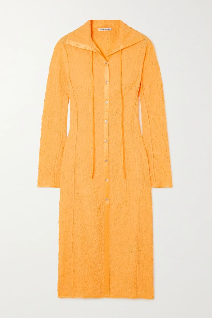 Chloé - Asymmetric Pinstriped Woven Midi Skirt - Navy