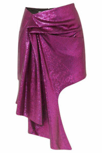 Halpern - Asymmetric Sequined Tulle Mini Skirt - Purple