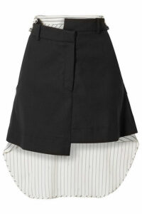 Monse - Paneled Asymmetric Wool-blend Drill And Striped Cotton-voile Mini Skirt - Black