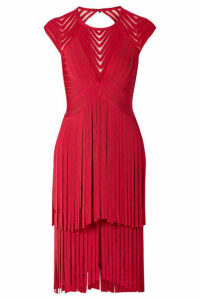 Hervé Léger - Fringed Tulle-trimmed Open-back Bandage Dress - Red