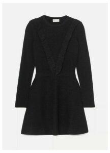 REDValentino - Ruffled Metallic Ribbed Cotton-blend Mini Dress - Black