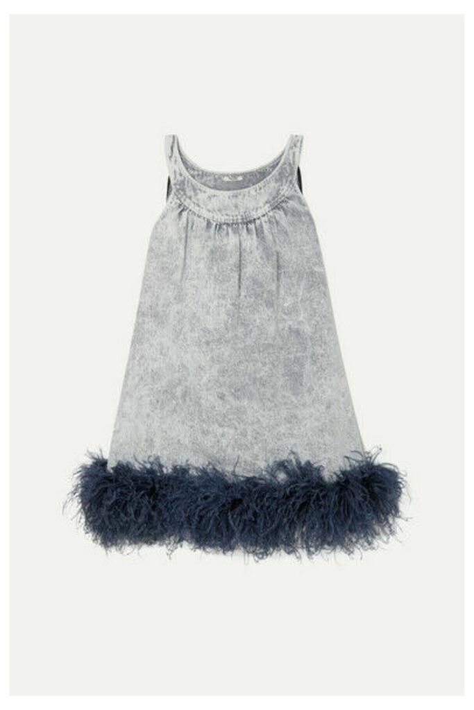 Miu Miu - Feather-trimmed Embroidered Denim Mini Dress - Gray