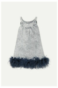 Miu Miu - Feather-trimmed Embroidered Denim Mini Dress - Gray