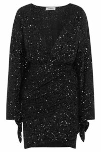 Attico - Convertible Sequined Tulle Mini Dress - Black