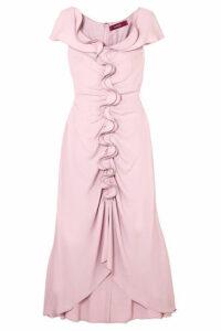 Sies Marjan - Portia Ruffled Ruched Crepe Marocain Midi Dress - Pastel pink