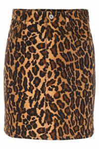Miu Miu Leopard Denim Mini Skirt