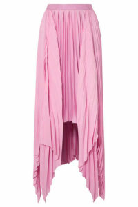Khaite - Charlotte Pleated Asymmetric Satin Midi Skirt - Pink