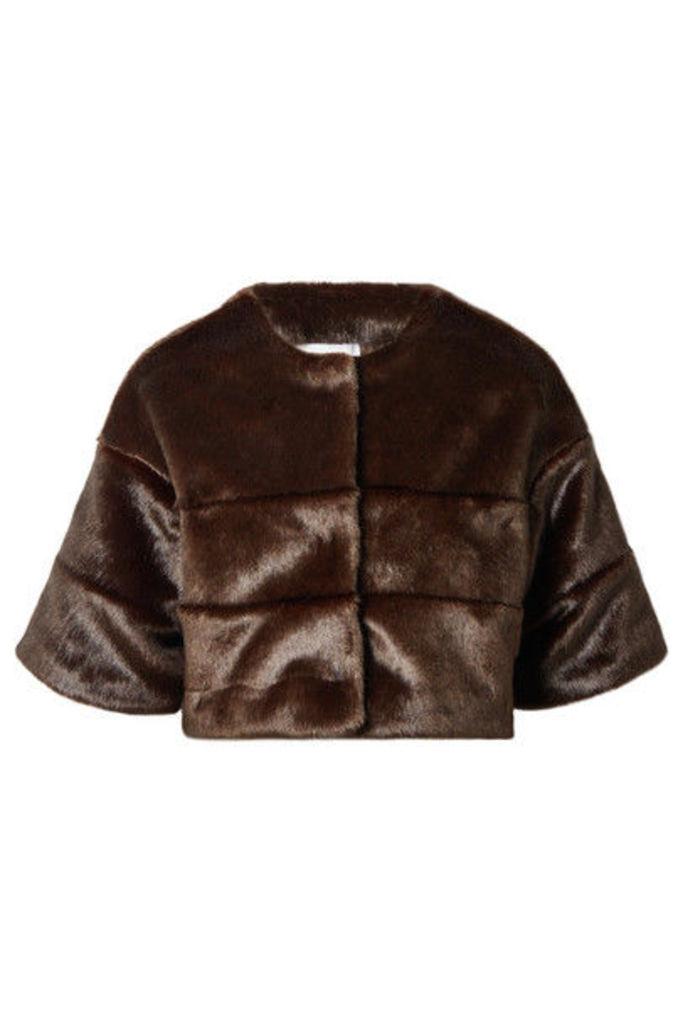 A PERDIFIATO - The Mini Faux Fur Cape - Brown