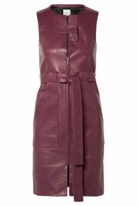 Rosetta Getty - Belted Leather Dress - Merlot