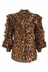 Miu Miu Ruffled Leopard Shirt
