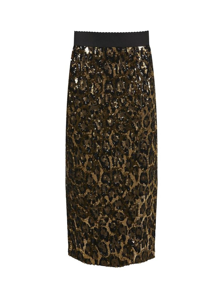 Dolce & Gabbana Leopard Print Sequin Midi Skirt