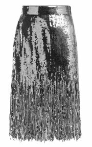 MSGM Fringed Sequinned Skirt