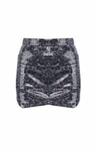 MSGM Leopard-print Sequinned Mini Skirt