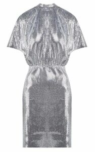 MSGM Gathered Sequinned Mini Dress