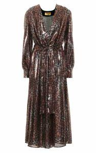 MSGM Leopard-print Sequinned Midi Dress