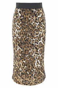 Dolce & Gabbana Leopard Print Sequins Skirt