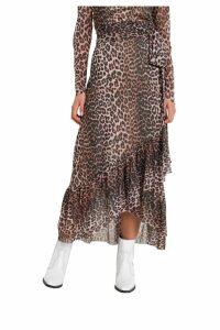 Ganni Leopard Motif Wrap Skirt