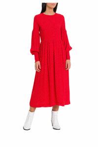 Ganni Mullin Midi Dress With Polka Dots