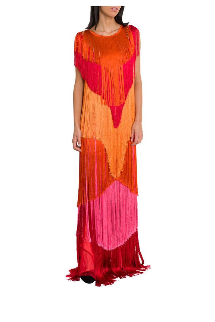 Alberta Ferretti Satin Fringe Dress