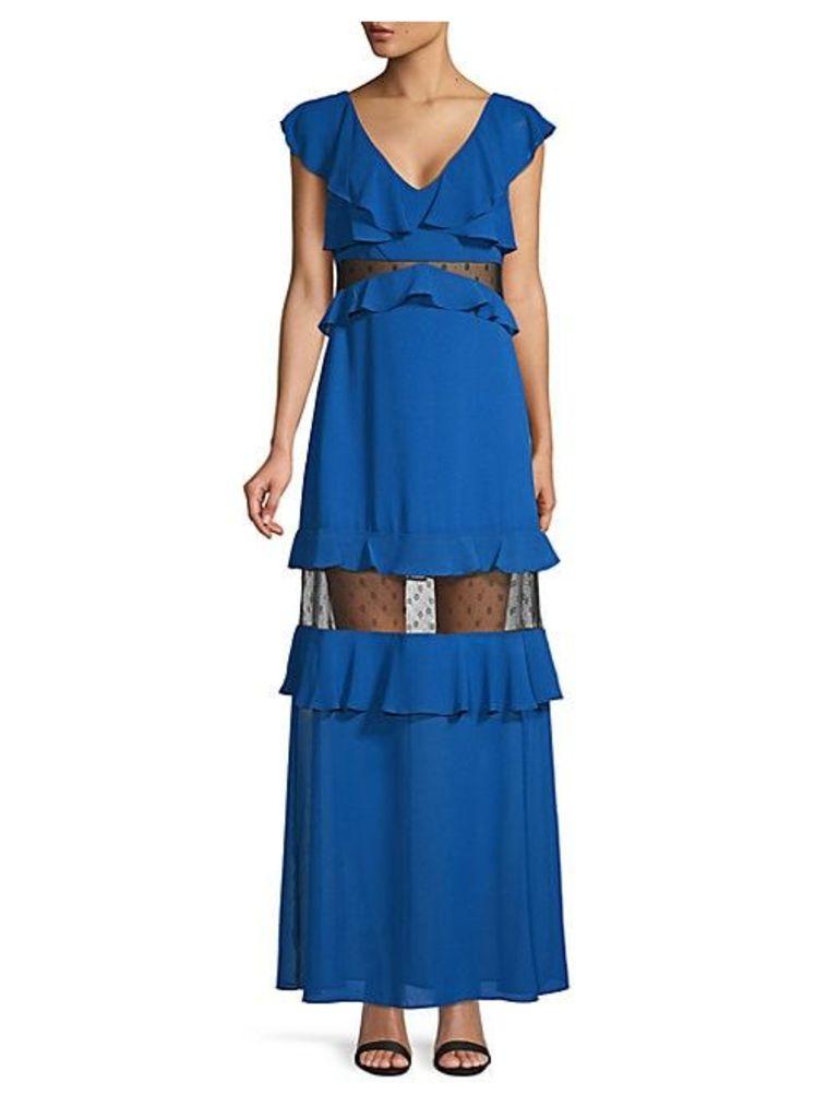 Tiered Ruffle Lace-Inset Long Dress