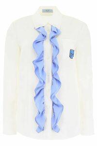 Prada Ruffled Silk Shirt With Logo