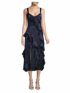 Gigi Feather-Trimmed Silk Ruffle Dress