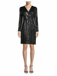 Multi-Tone Sequin Faux-Wrap Dress