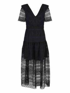 self-portrait Black And Blue Long Dress