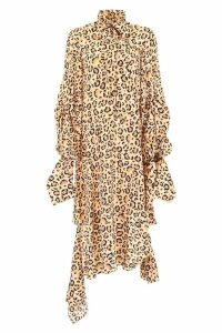 Rokh Asymmetric Animalier Dress