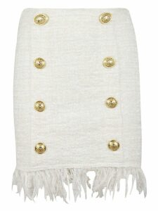 Balmain Tweed Shredded Button Skirt