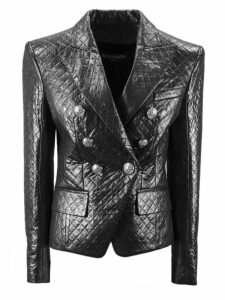 Balmain Silver Double Breasted Blazer.