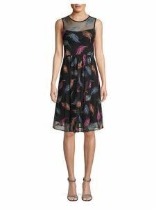 Floral-Print Sleeves Shift Dress