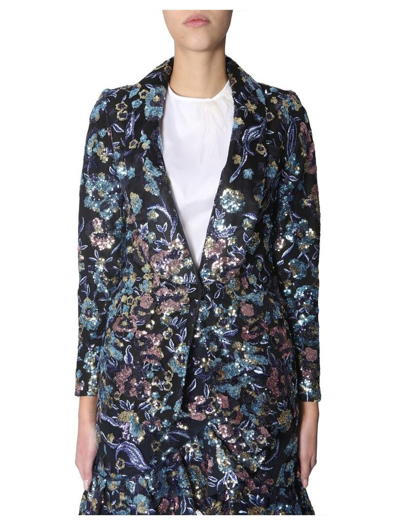 self-portrait Jacket With Floral Embroidery