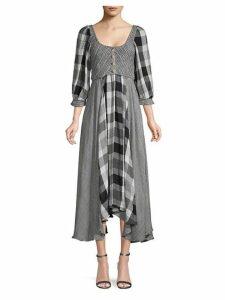 Puffed-Sleeve Checker Peasant Dress