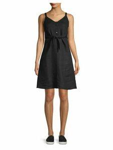Jolie Tie-Front Linen Mini Dress