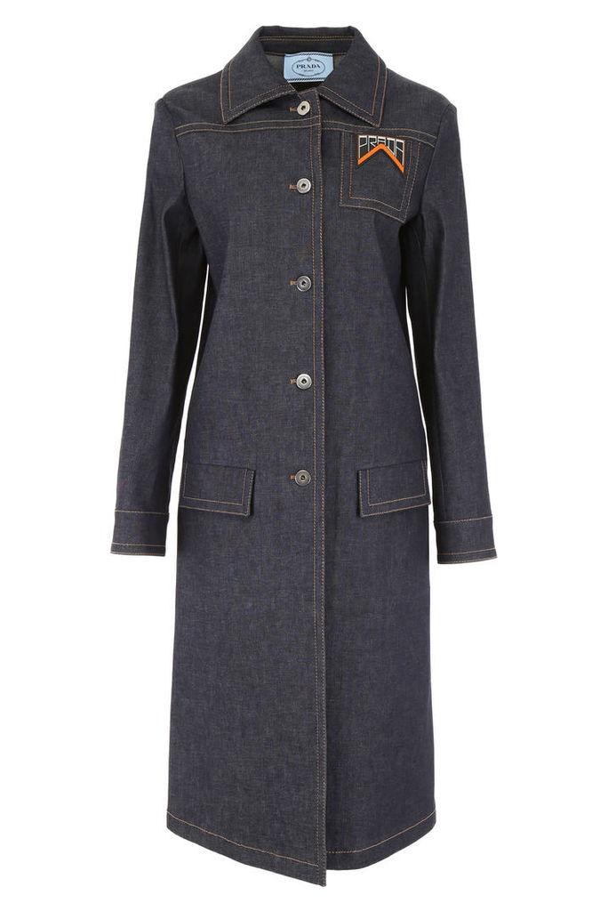 Prada Denim Coat With Logo Patch