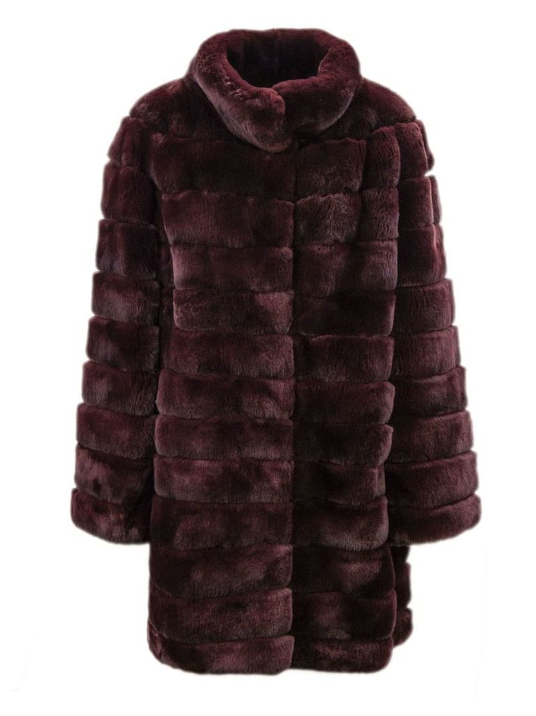 Yves Salomon Bordeaux Rabbit-fur Coat.